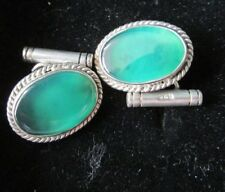 925 Silver cufflinks with green centre