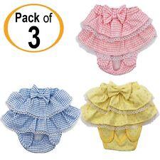 SET - 3 COLORS Dog Diaper Sanitary Pants Female Girl SKIRT Cotton For SMALL Pet