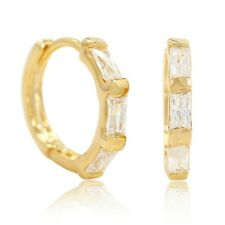 Gold Plated 14k Clear Crystal Thin Small Huggie Hoop Earrings 12mm Lady Teen