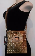 BETTY BOOP Gold Studded CROSSBODY PURSE Shoulder Bag ADJUSTABLE SHOULDER STRAP