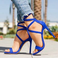 Womens Sandals Strappy High Heel Peep Toe Summer Formal Casual Evening Stilettos