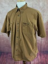 Carhartt Short Sleeve Button Down 100% Cotton Heavy Work Brown Shirt Men's XLR