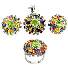 925 Sterling Silver Natural Gemstone Multi Sapphire Pendant Earring Ring Set
