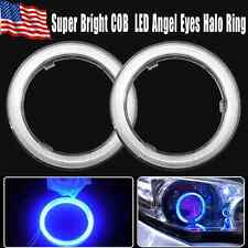 2x 80mm Ultra Blue 93 Cob Led 12-24V Angel Eyes Halo Ring Fog Housing Lamp Us
