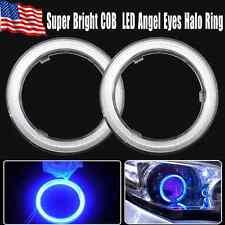 2X Ultra Blue 80mm 93 COB LEDs Angel Eyes Halo Ring Headlight&Fog Housing Lamp!
