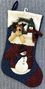 Christmas 3D Stocking Felt Appliqued New Snowman Moose Penguin Greenery Country
