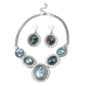 "Abalone Shell Tribal Boho Coastal Hammered Dangle Drop Earrings Necklace Set 18"""