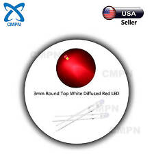 100Pcs 3mm Diffused Round Top White/Red LED Bright Lamp Light Emitting Diodes