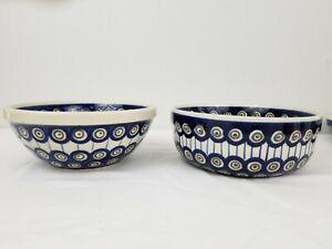 2 Boleslawiec Polish Pottery Poland Coupe Salad Bowl Blue Peacock Eyes Round
