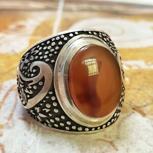 handmade 925 Sterling Silver natural red yemen kapidy agate aqeeq Mens Ring كبدي