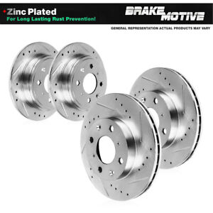For 2012 2013 2014 2015 2016 Fiat 500 Front & Rear Drilled Slotted Brake Rotors