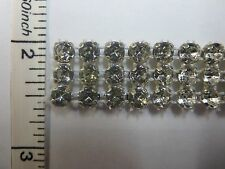 Rhinestone Trimming Fringe Sew on Metal base cup plating 3 row glass stone 1yd