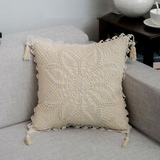 Ivory Crochet square Lotus ring lace cotton pillow cases cushion cover 45 cm