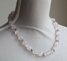 ROSE QUARTZ, GREEN FLUORITE & COATED QUARTZ NECKLACE 20""