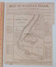 circa 1850s large MAP of NIAGARA Falls New York Canada border City of the Falls