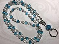 Aqua Ocean Drops Lanyard,Aqua & Crystal Beaded Badge Holder, Breakaway Opt.