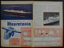 "Mauretania Ocean Liner 1939 How-To build PLANS 8"" long Model"