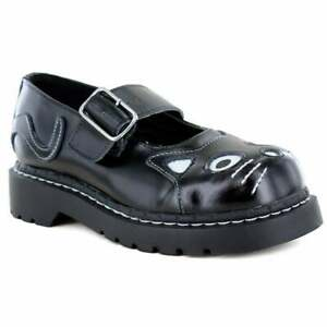 TUK T2025 Kitty Womens Leather Mary-Jane Shoes - Black
