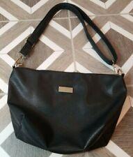 BCBG Paris Crossbody Purse Black Handbag Tote Gold Adjustable Strap Medium Long