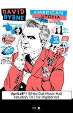 David Byrne 2018 Houston Concert Tour Poster- New Wave, Post-punk, Talking Heads