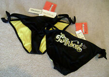 BILLABONG Black Yellow Swimsuit / Bikini Bottoms Stitched sz S NEW