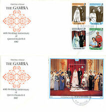 GAMBIA 1987/8 QUEEN 40th WEDDING ANNIVERSARY PAIR OF FIRST DAY COVERS