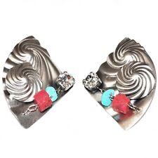 Boucles d'oreilles clips signées plaqué argent corail turquoise bijou earring