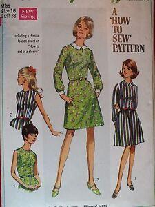VTG 67 SIMPLICITY 7495 Misses Shirt-Dress w 2 Skirts PATTERN 16/38B Perfect!