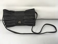 LULU GUINNESS Small Black W/ Tan Polka Dot Fabric Crossbody Purse; Bow Shaped