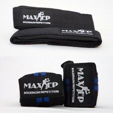 MaxRep Black Padded Lifting Strap with 18 inch Blue Power Lifting Wrist support