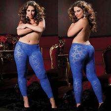 One Size Queen / Plus Size Blue Floral Stretch Lace Lingerie Leggings STM9327X