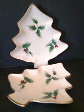 """Mikasa Bone China Ribbon Holly Christmas Tree Dish Plate Japan 6.5"""" Set of 2 T1"""