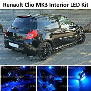 BLUE PREMIUM RENAULT CLIO MK3 SPORT 05-12 INTERIOR LED LIGHT BULB UPGRADE KIT
