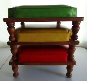 Ethan Allen Stoplight Set 3 Nesting Stool Ottoman MCM Red Yellow Made in USA NC