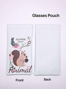 Faux Leather Sunglass Eyeglasses Glasses Snap Shut Soft Pouch - Squirrel