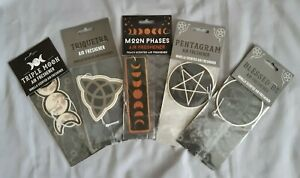 Air freshener with Pagan design. pentagram; triple moon; triquetra; blessed be