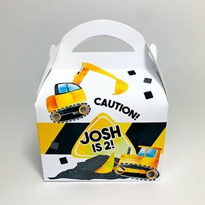 Diggers Construction Children's Personalised Party Boxes Favours Gift Bags