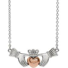 14k White and Rose Gold Claddagh Necklace