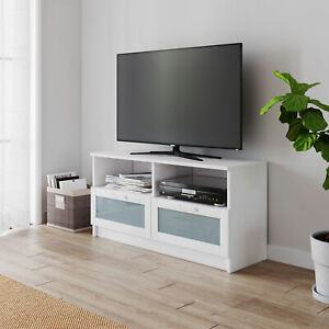 Modern TV Unit Cabinet White Stand with 2 Drawers 105cm