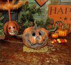 Primitive Antique Style LED Halloween Scary Wood Jack O Lantern Creepy Pumpkin