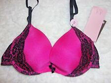H&M Push Up Bra 32C  New With Tags Underwire Lace Trim Hot Pink Padded