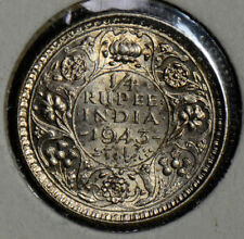 British India 1943 1/4 Rupee silver  combine shipping I0230 combine shipping