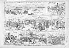 Espagne Voyage Roi Alphonse XII Gardes Civils de Saragosse Soldats GRAVURE 1875