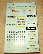 134 Logo & Racing Numbers Decals RUSSKIT #A287 Complete sheet Slot CarNOS