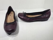 CLARKS Womens 15807 Burgundy Ballet Flats Slip On Casual Shoes Size 9 ZA-1028