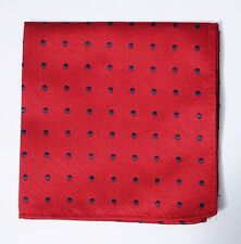 Hankie Pocket Square Handkerchief Red with Navy Blue Spot
