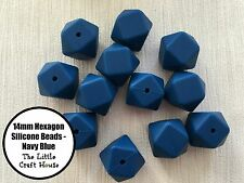 12 x 14mm Silicone Beads Hexagon Navy Blue Bead Necklace Sensory (was teething)