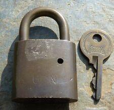 Vintage Hurd USN  Brass Padlock & Original Key   Removable Shackle US Navy Lock