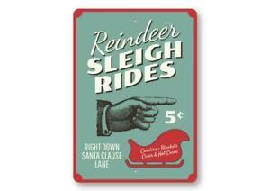 Reindeer Sleigh Rides, Reindeer, Santa Sleigh Christmas Sign, Holiday Metal Sign