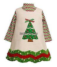 ~SALE~ BONNIE JEAN Girl 24 Month Red Green White Dress Christmas Tree Fleece NWT